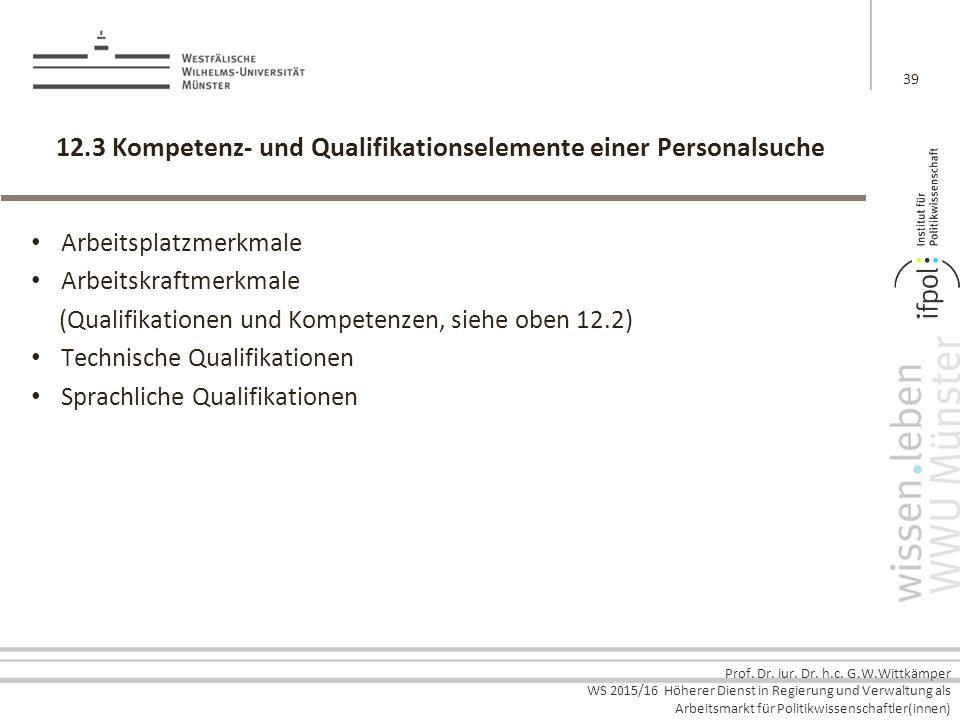 12.3 Kompetenz- und Qualifikationselemente einer Personalsuche