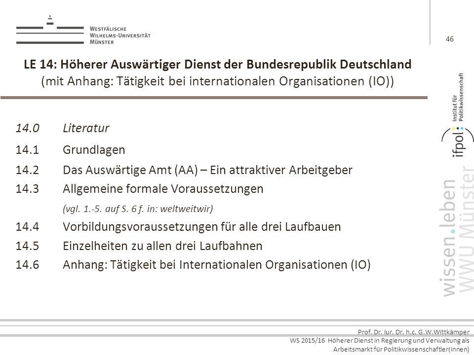 LE 14: Höherer Auswärtiger Dienst der Bundesrepublik Deutschland (mit Anhang: Tätigkeit bei internationalen Organisationen (IO))