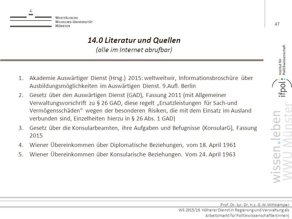 14.0 Literatur und Quellen (alle im Internet abrufbar)