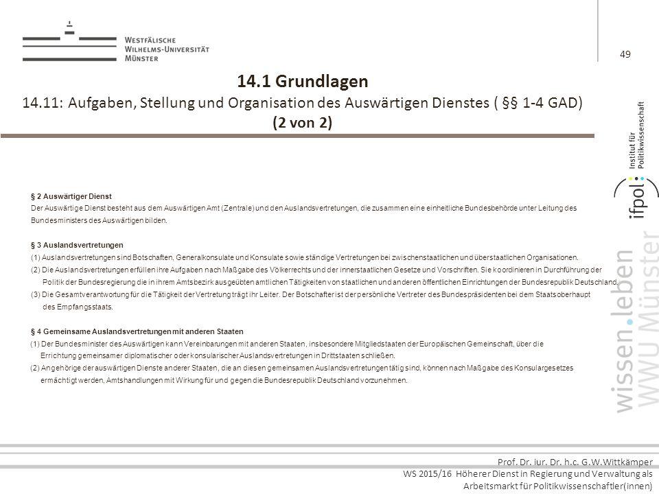 14.1 Grundlagen 14.11: Aufgaben, Stellung und Organisation des Auswärtigen Dienstes ( §§ 1-4 GAD) (2 von 2)