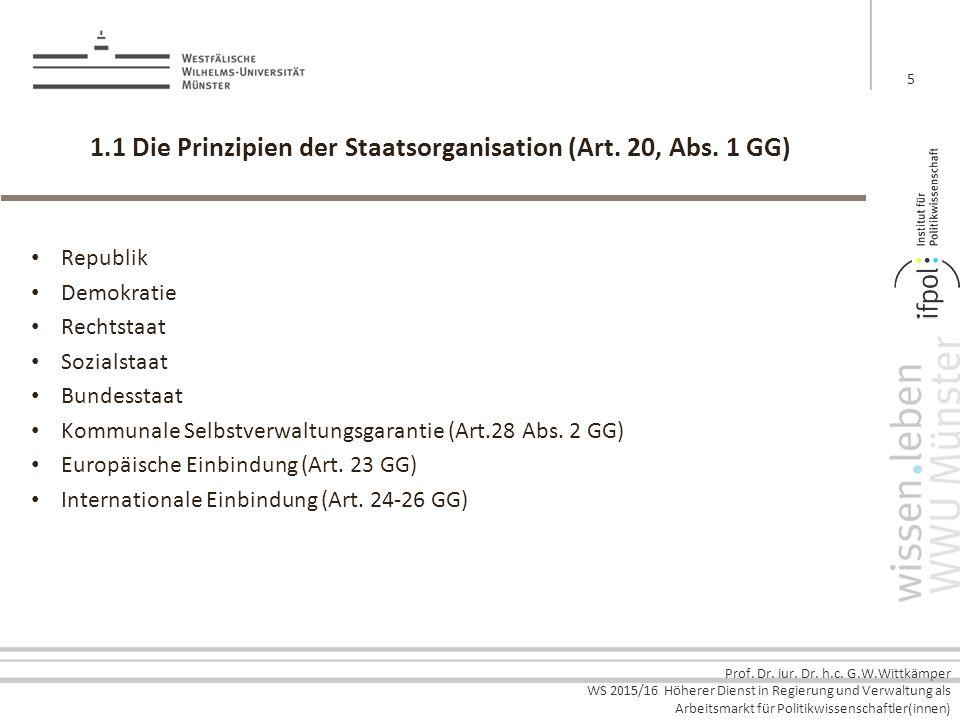 1.1 Die Prinzipien der Staatsorganisation (Art. 20, Abs. 1 GG)
