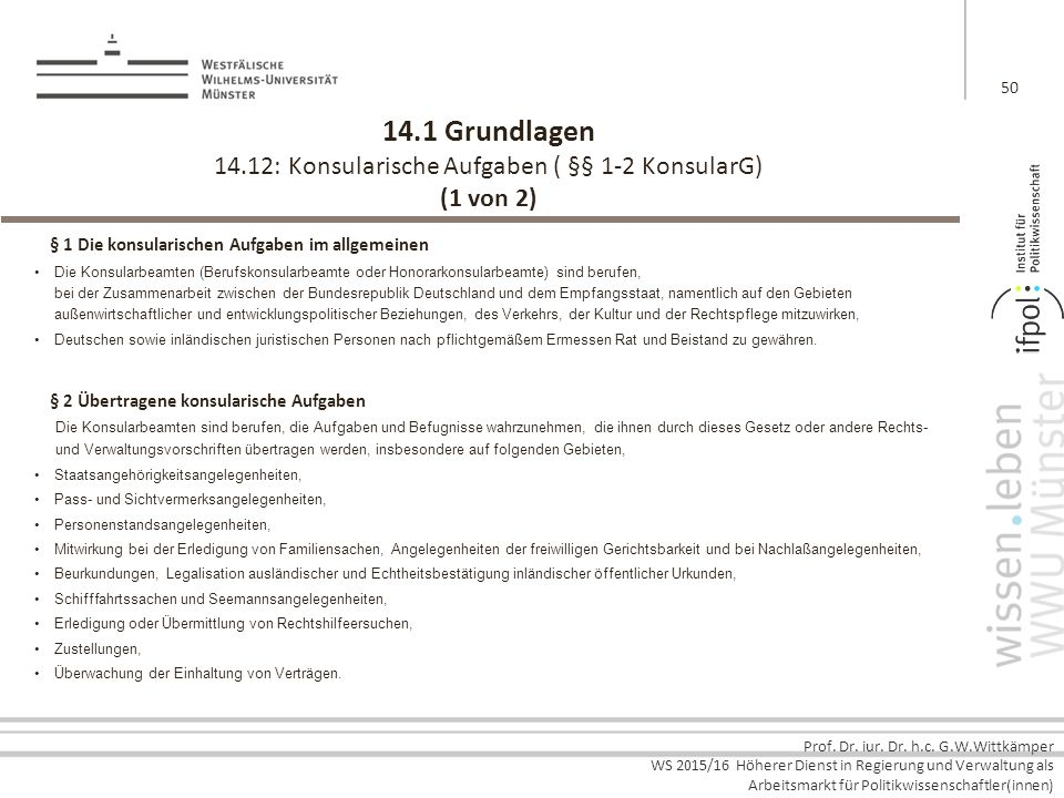 14.1 Grundlagen 14.12: Konsularische Aufgaben ( §§ 1-2 KonsularG) (1 von 2)