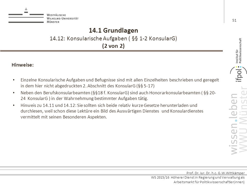 14.1 Grundlagen 14.12: Konsularische Aufgaben ( §§ 1-2 KonsularG) (2 von 2)