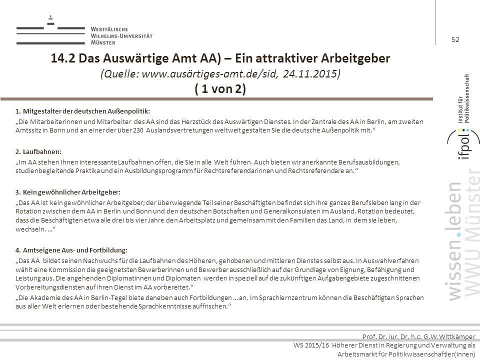 14.2 Das Auswärtige Amt AA) – Ein attraktiver Arbeitgeber (Quelle: www.ausärtiges-amt.de/sid, 24.11.2015) ( 1 von 2)