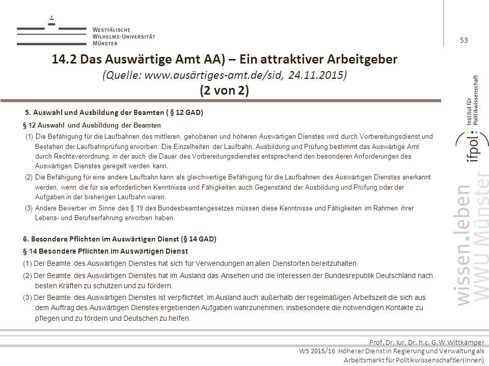 14.2 Das Auswärtige Amt AA) – Ein attraktiver Arbeitgeber (Quelle: www.ausärtiges-amt.de/sid, 24.11.2015) (2 von 2)