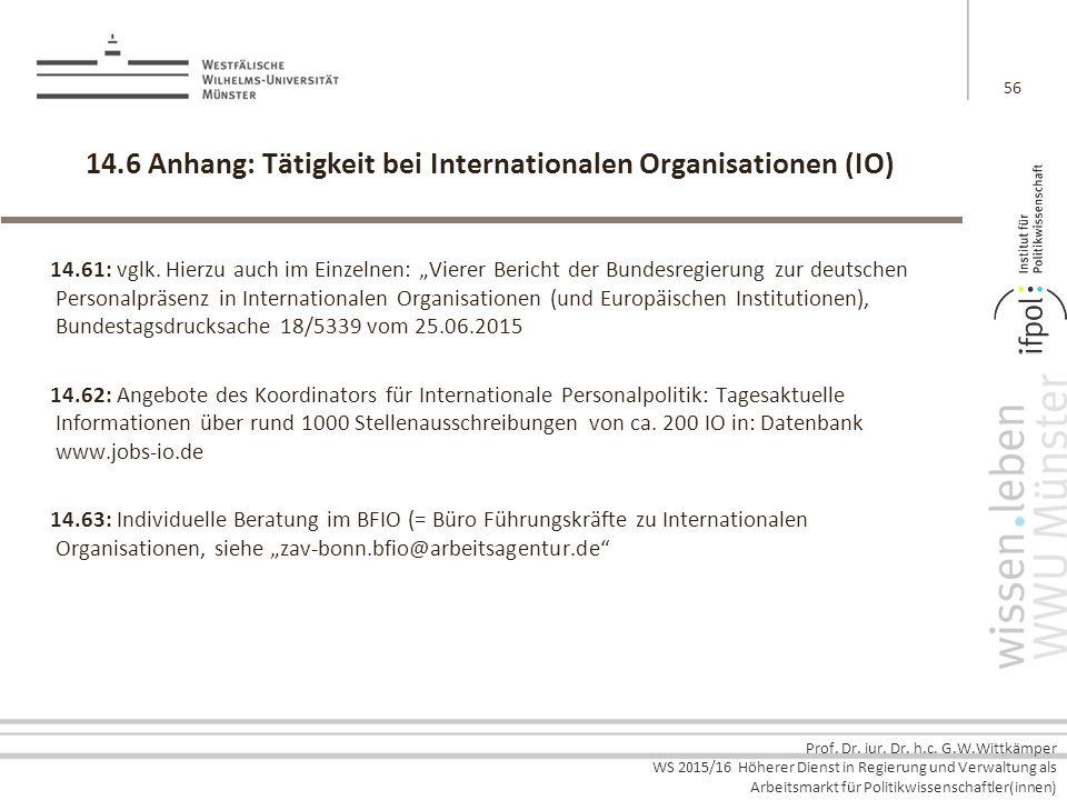 14.6 Anhang: Tätigkeit bei Internationalen Organisationen (IO)