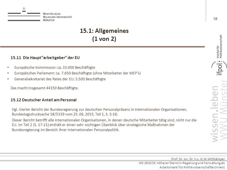 15.1: Allgemeines (1 von 2) 15.11 Die Haupt arbeitgeber der EU