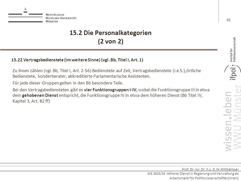 15.2 Die Personalkategorien (2 von 2)