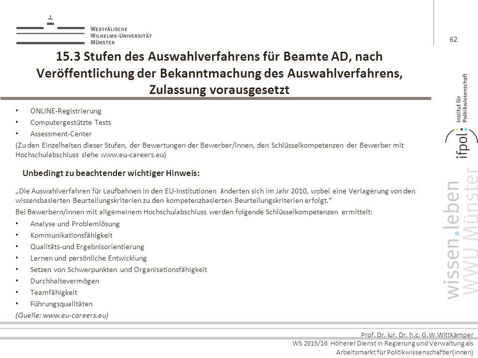 15.3 Stufen des Auswahlverfahrens für Beamte AD, nach Veröffentlichung der Bekanntmachung des Auswahlverfahrens, Zulassung vorausgesetzt