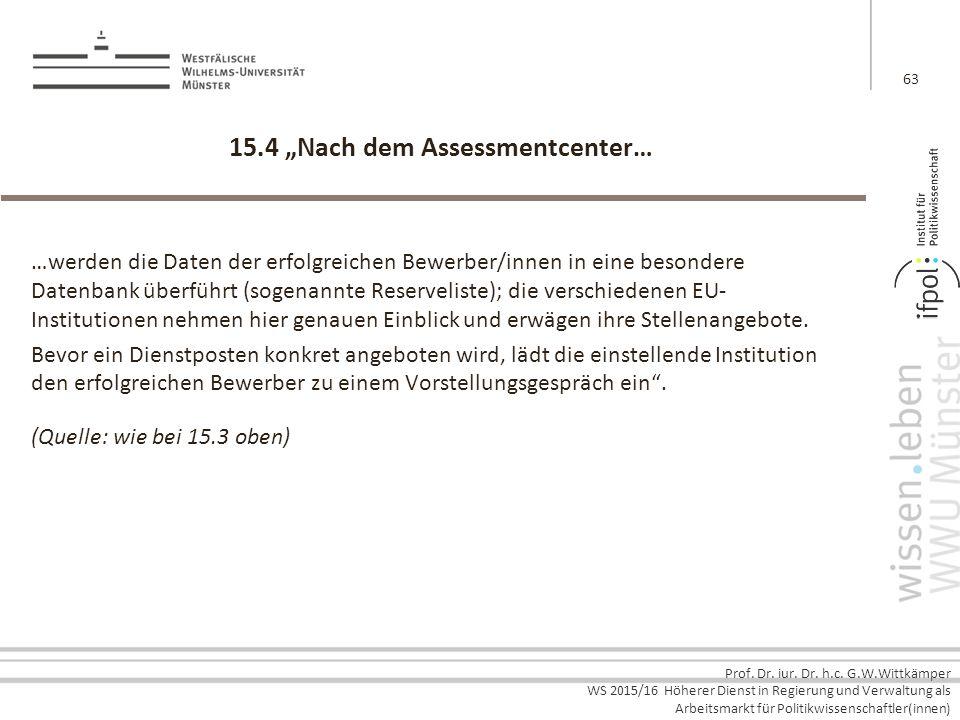 """15.4 """"Nach dem Assessmentcenter…"""