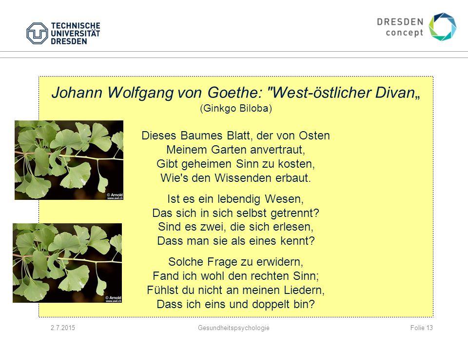 """Johann Wolfgang von Goethe: West-östlicher Divan"""" (Ginkgo Biloba)"""