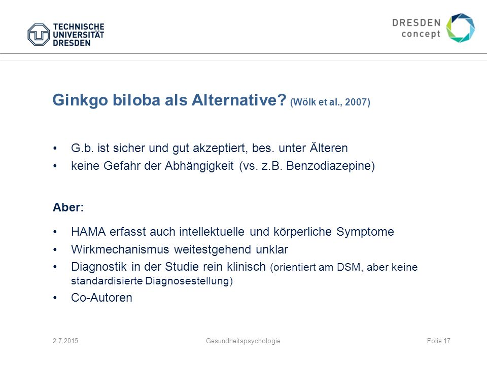 Ginkgo biloba als Alternative (Wölk et al., 2007)