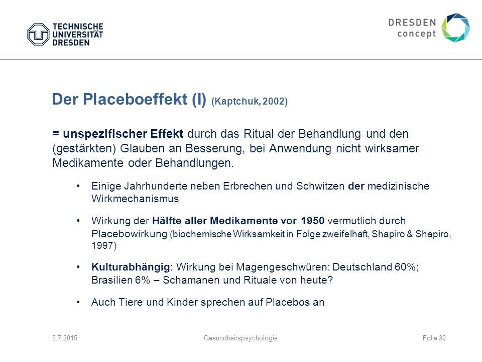 Der Placeboeffekt (I) (Kaptchuk, 2002)