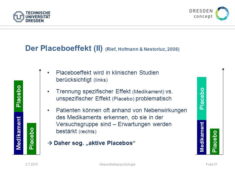 Der Placeboeffekt (II) (Rief, Hofmann & Nestoriuc, 2008)
