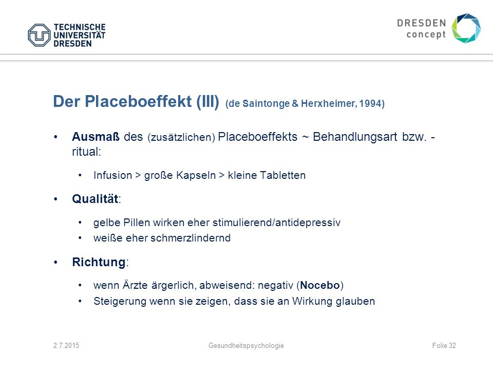 Der Placeboeffekt (III) (de Saintonge & Herxheimer, 1994)