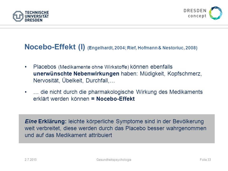 Nocebo-Effekt (I) (Engelhardt, 2004; Rief, Hofmann & Nestoriuc, 2008)