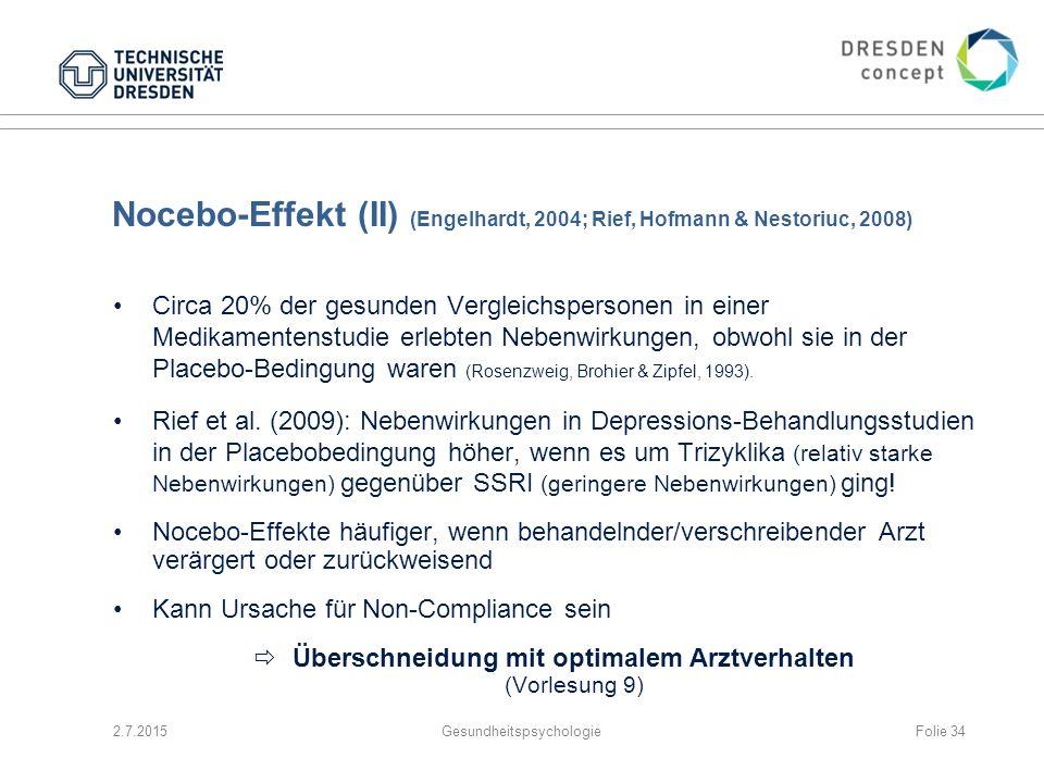 Nocebo-Effekt (II) (Engelhardt, 2004; Rief, Hofmann & Nestoriuc, 2008)