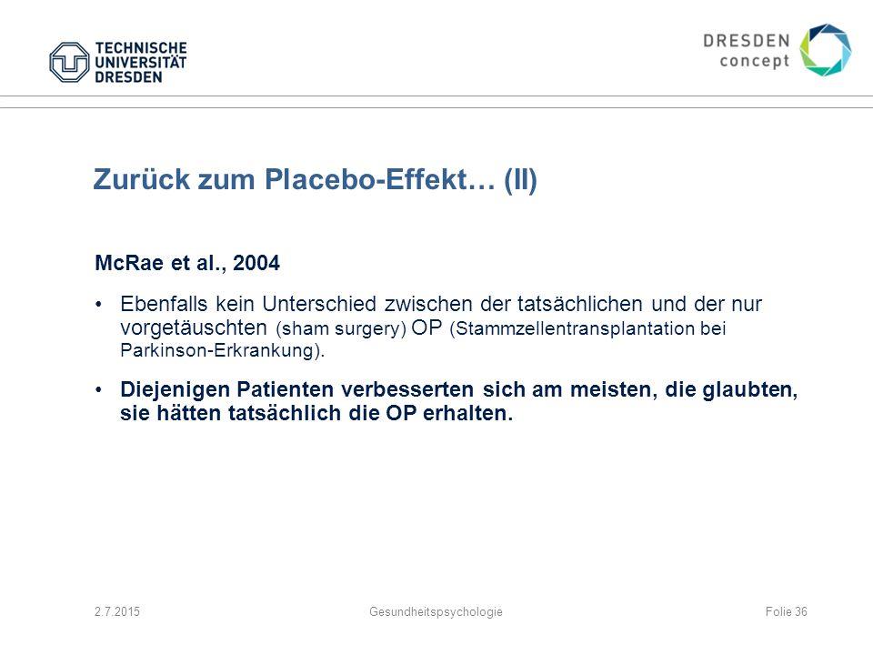 Zurück zum Placebo-Effekt… (II)
