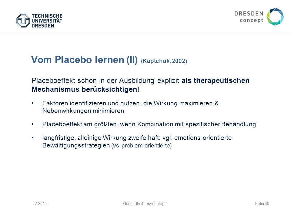 Vom Placebo lernen (II) (Kaptchuk, 2002)