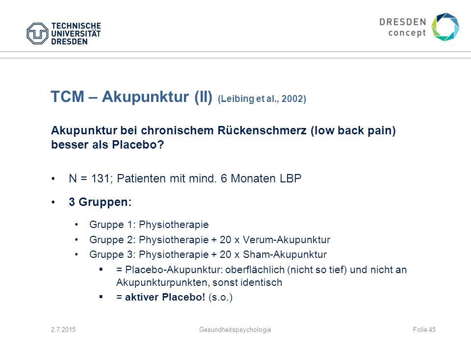TCM – Akupunktur (II) (Leibing et al., 2002)