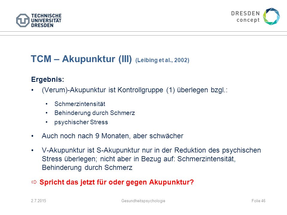 TCM – Akupunktur (III) (Leibing et al., 2002)