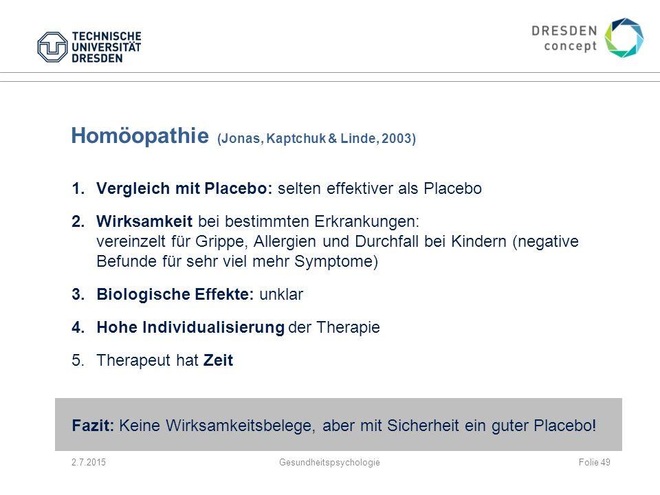 Homöopathie (Jonas, Kaptchuk & Linde, 2003)
