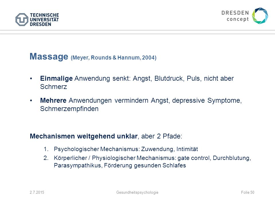 Massage (Meyer, Rounds & Hannum, 2004)