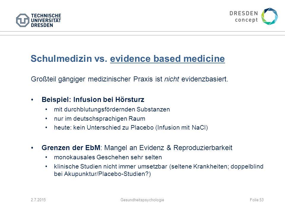 Schulmedizin vs. evidence based medicine
