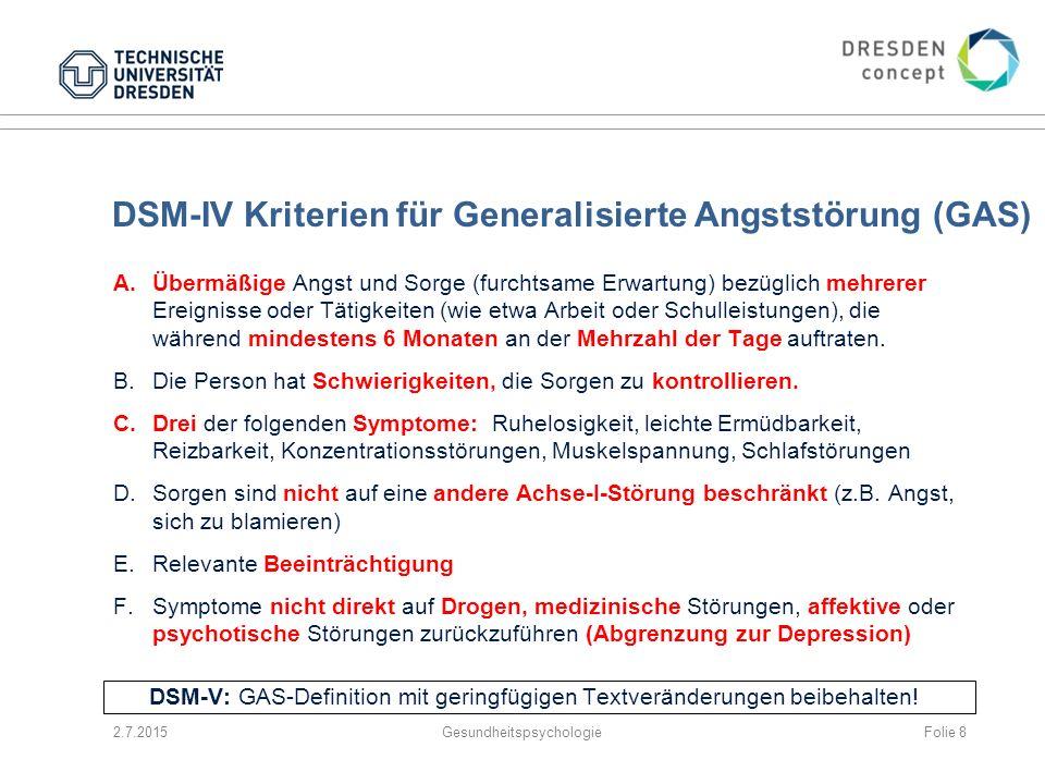 DSM-IV Kriterien für Generalisierte Angststörung (GAS)