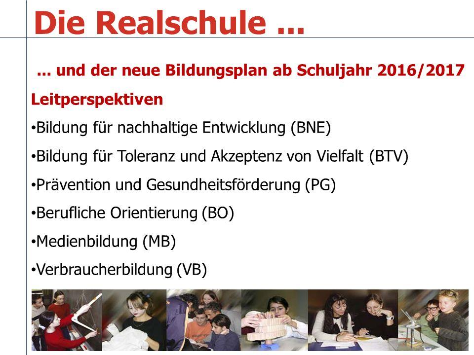 Die Realschule ... ... und der neue Bildungsplan ab Schuljahr 2016/2017. Leitperspektiven. Bildung für nachhaltige Entwicklung (BNE)