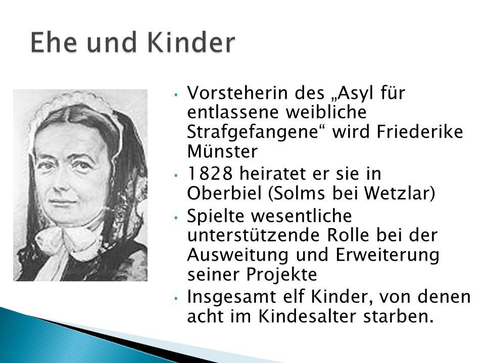 """Ehe und Kinder Vorsteherin des """"Asyl für entlassene weibliche Strafgefangene wird Friederike Münster"""
