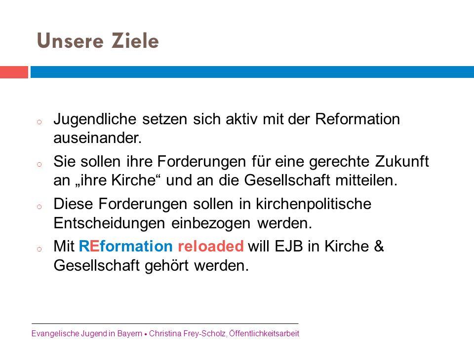Unsere Ziele Jugendliche setzen sich aktiv mit der Reformation auseinander.
