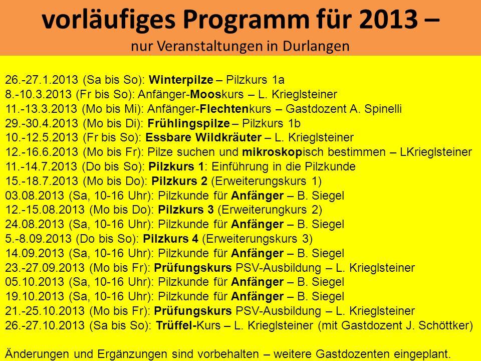 vorläufiges Programm für 2013 – nur Veranstaltungen in Durlangen