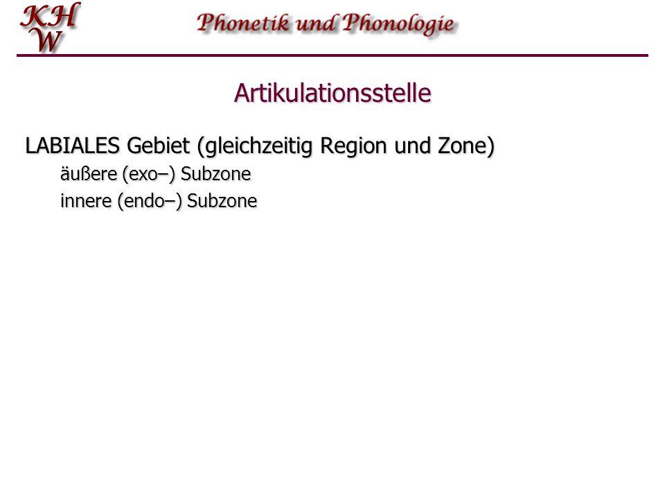 Artikulationsstelle LABIALES Gebiet (gleichzeitig Region und Zone)