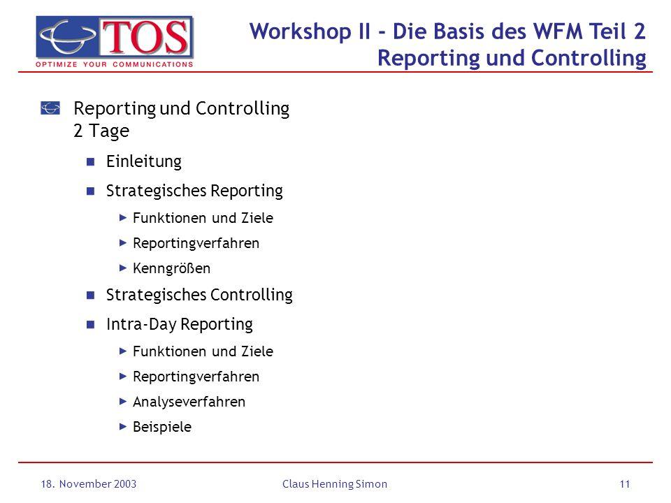 Workshop II - Die Basis des WFM Teil 2 Reporting und Controlling