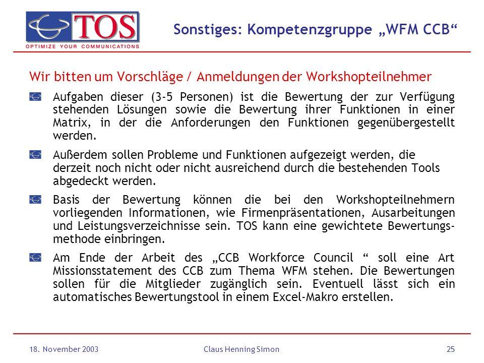 "Sonstiges: Kompetenzgruppe ""WFM CCB"