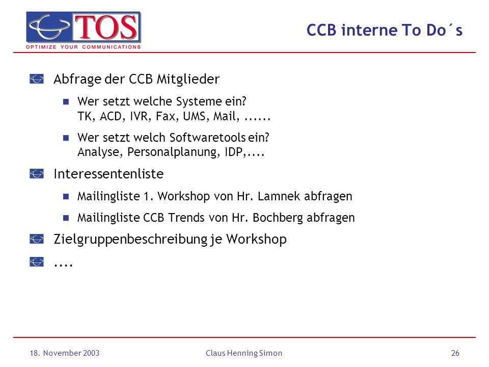 CCB interne To Do´s Abfrage der CCB Mitglieder Interessentenliste