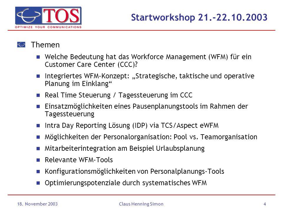 Startworkshop 21.-22.10.2003 Themen