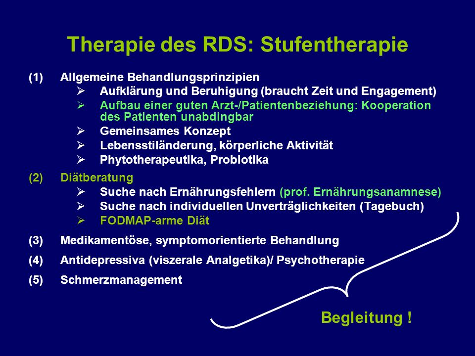 Therapie des RDS: Stufentherapie