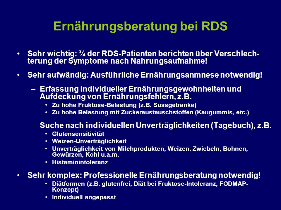 Ernährungsberatung bei RDS
