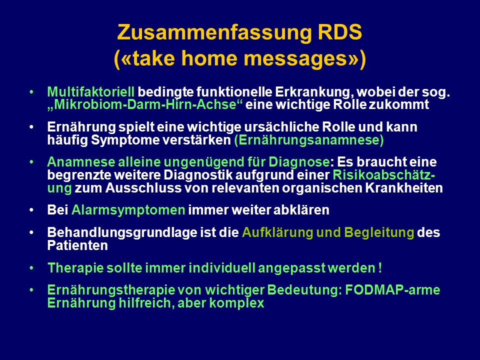 Zusammenfassung RDS («take home messages»)