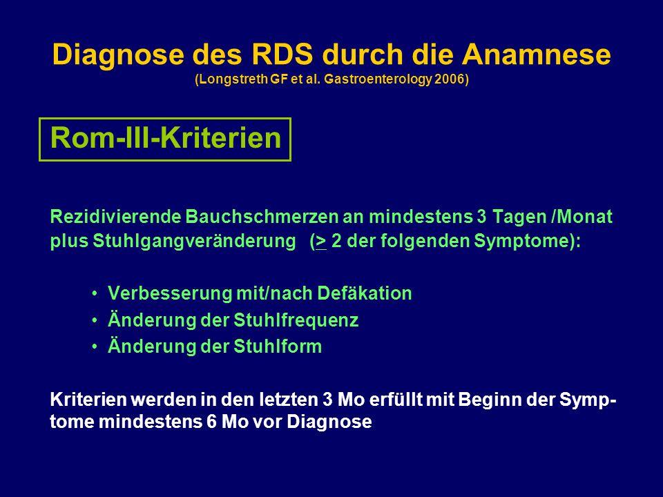 Diagnose des RDS durch die Anamnese (Longstreth GF et al