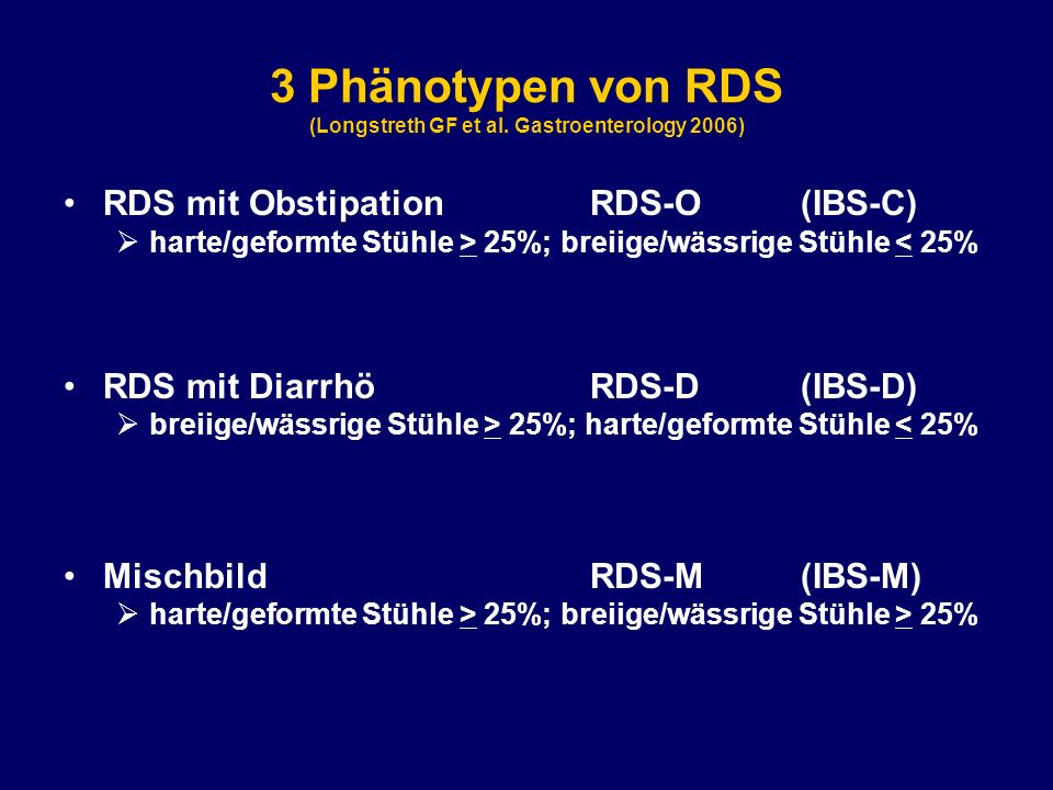 3 Phänotypen von RDS (Longstreth GF et al. Gastroenterology 2006)