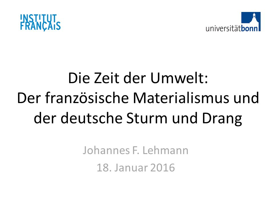 Johannes F. Lehmann 18. Januar 2016