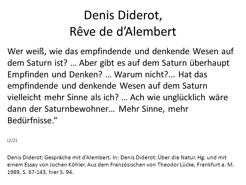 Denis Diderot, Rêve de d'Alembert