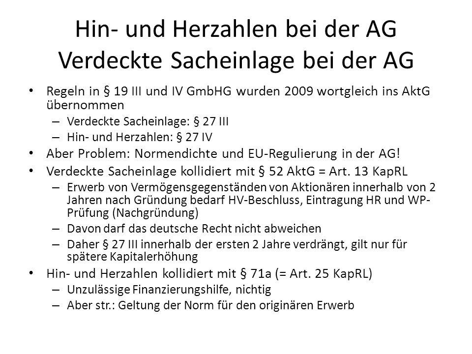 Hin- und Herzahlen bei der AG Verdeckte Sacheinlage bei der AG
