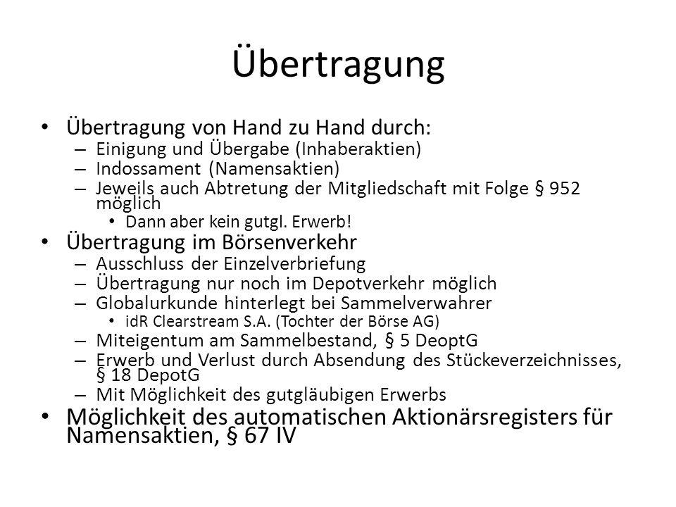 Übertragung Übertragung von Hand zu Hand durch: Einigung und Übergabe (Inhaberaktien) Indossament (Namensaktien)