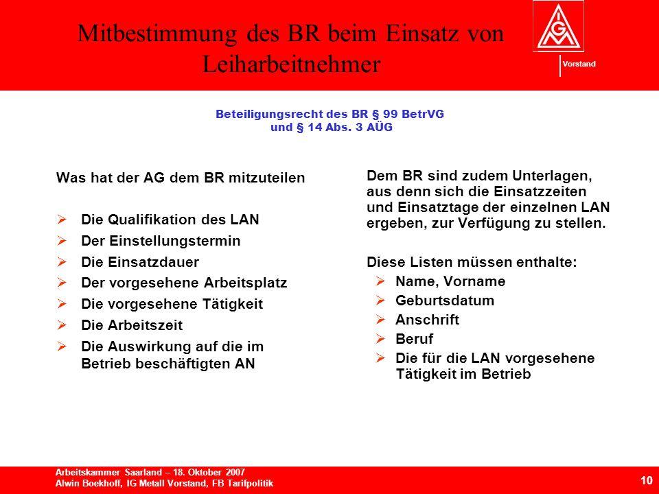 Beteiligungsrecht des BR § 99 BetrVG und § 14 Abs. 3 AÜG