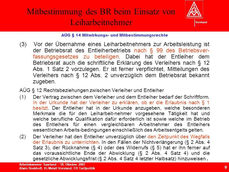 AÜG § 14 Mitwirkungs- und Mitbestimmungsrechte