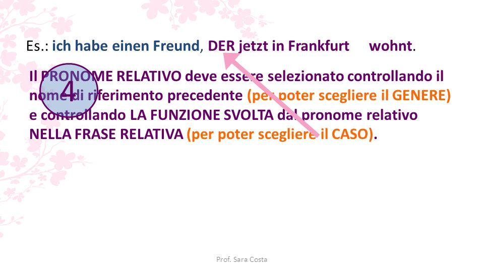 4 Es.: ich habe einen Freund, DER jetzt in Frankfurt wohnt.